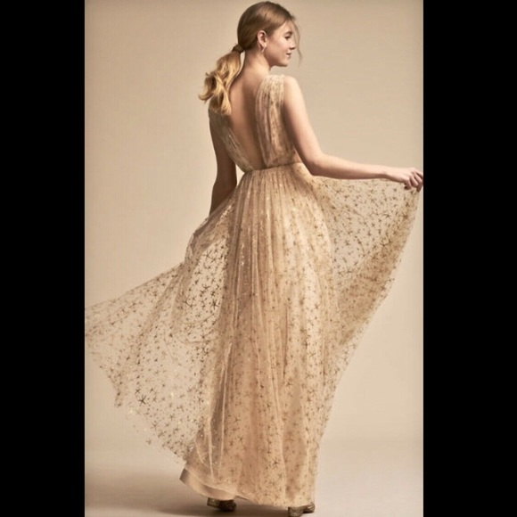c31ab1ad385 BHLDN Dresses   Skirts - Joanna August Ceremony tan Tulle Gold Gown Dress 4